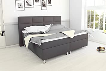 MSA Sam Cama boxspring Messina 180x200, Tela Gris, Base con resortes Bonnell, colchones
