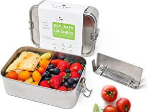 Ecozoi Stainless Steel Eco Lunch Box With Removable Divider | Metal Bento Box 1-tier Extra Large Leak Proof | Zero Waste Food Storage Container