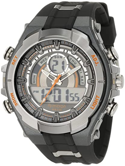 Armitron Sport 20/4589ORGY - Reloj de Pulsera Hombre, Resina, Color Negro: Amazon.es: Relojes