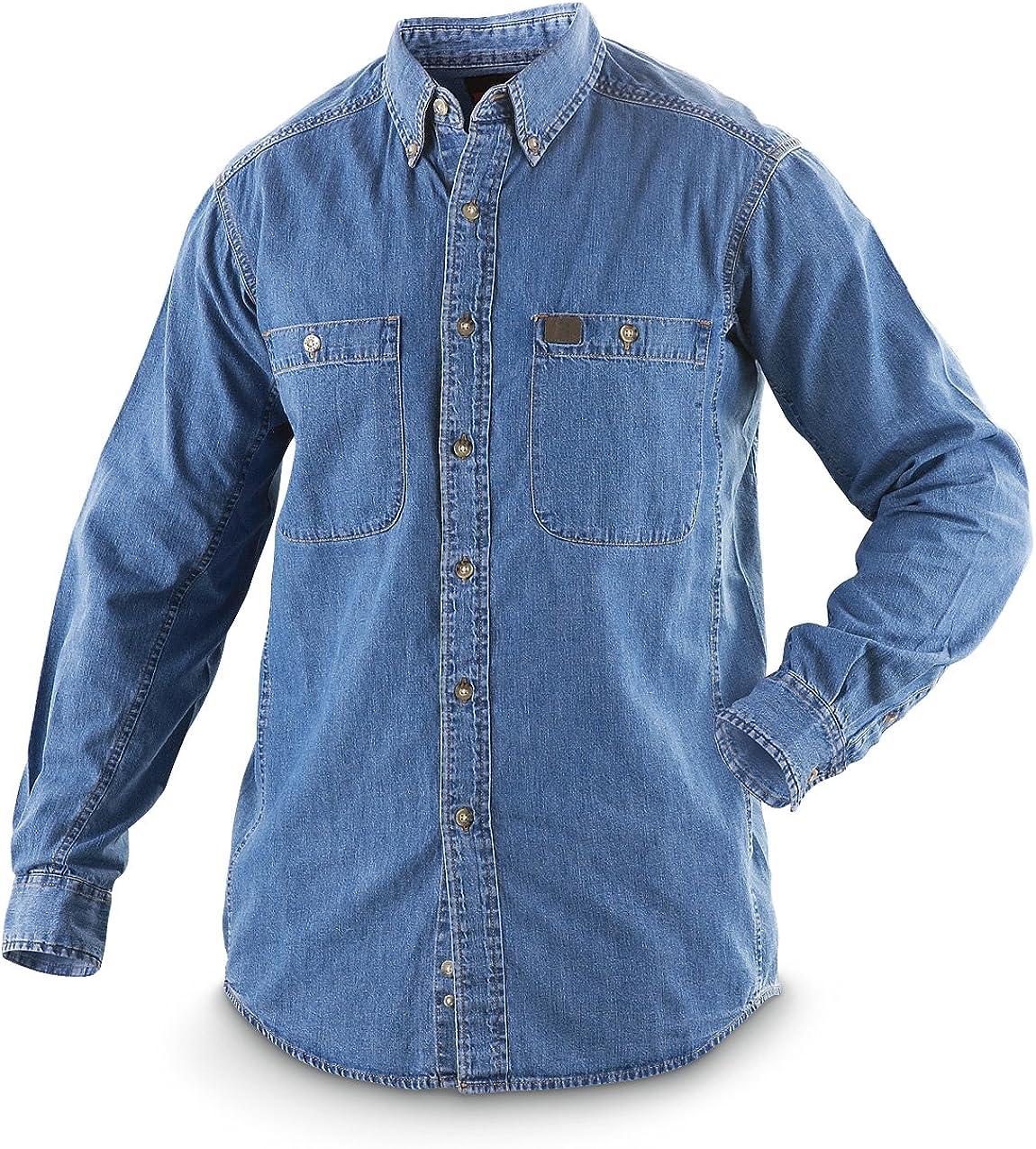 Wrangler Riggs Workwear - Camisa de trabajo de jean grande y alto para hombre