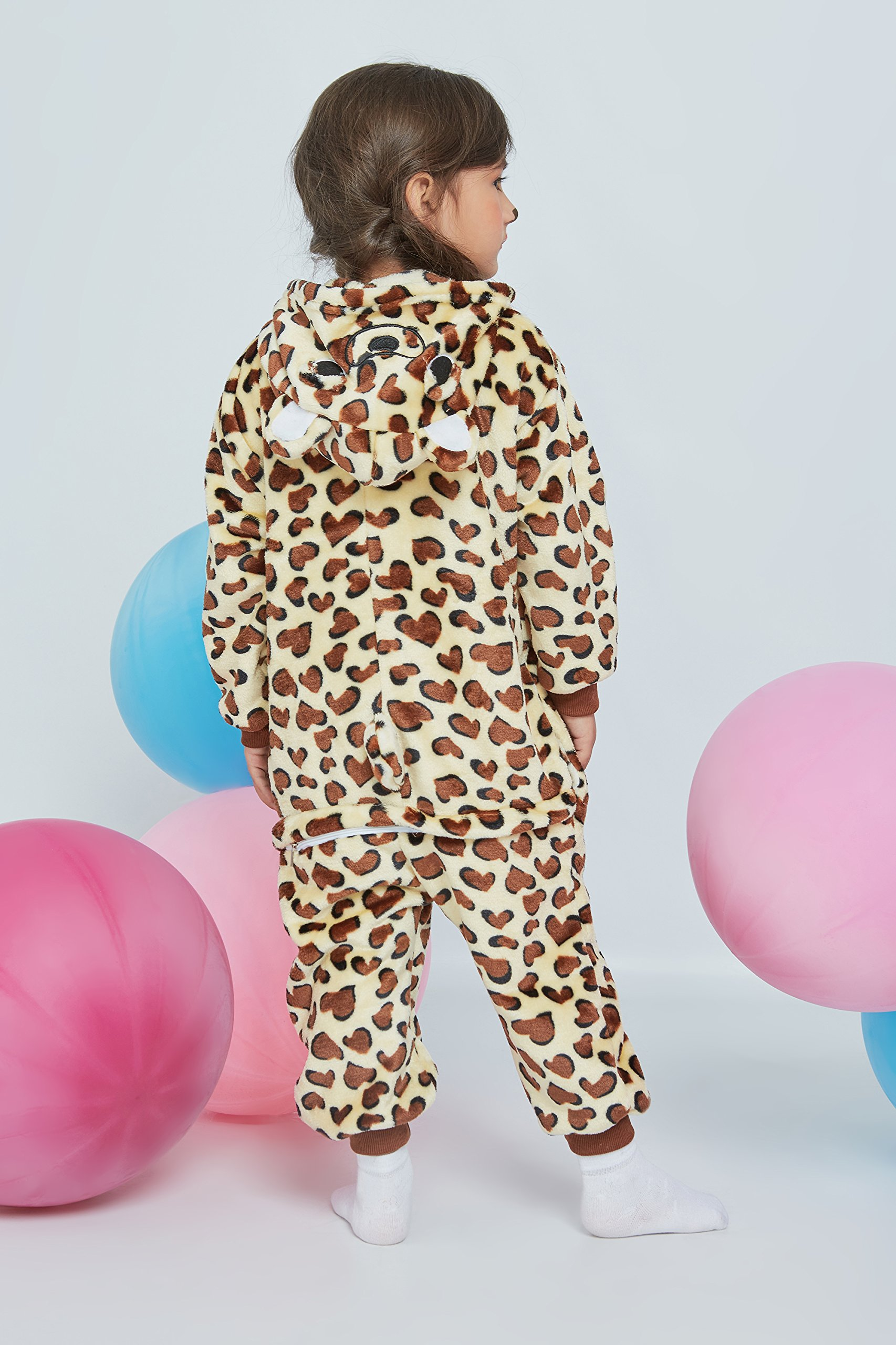 Kids Leopard Kigurumi Animal Onesie Pajamas Plush Onsie One Piece Cosplay Costume (Yellow, Brown, White) by Nothing But Love (Image #6)