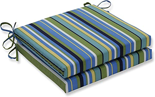 Pillow Perfect Outdoor Indoor Topanga Stripe Lagoon Squared Corners Seat Cushion 20x20x3 Set of 2 ,Blue