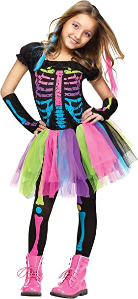 Funky - Disfraz de huesos punky para niña de 12 a 14 años: Amazon ...