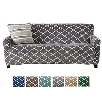 Modern Velvet Plush Sofa Slipcover. Strapless One Piece Stretch Couch  Cover. Sofa Cover for Living Room. Magnolia Collection Slipcover. (Sofa,  Grey)