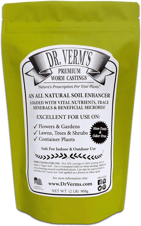 Dr. Verm's Premium Worm Castings - Organic Soil Builder and Fertilizer (2 LB)