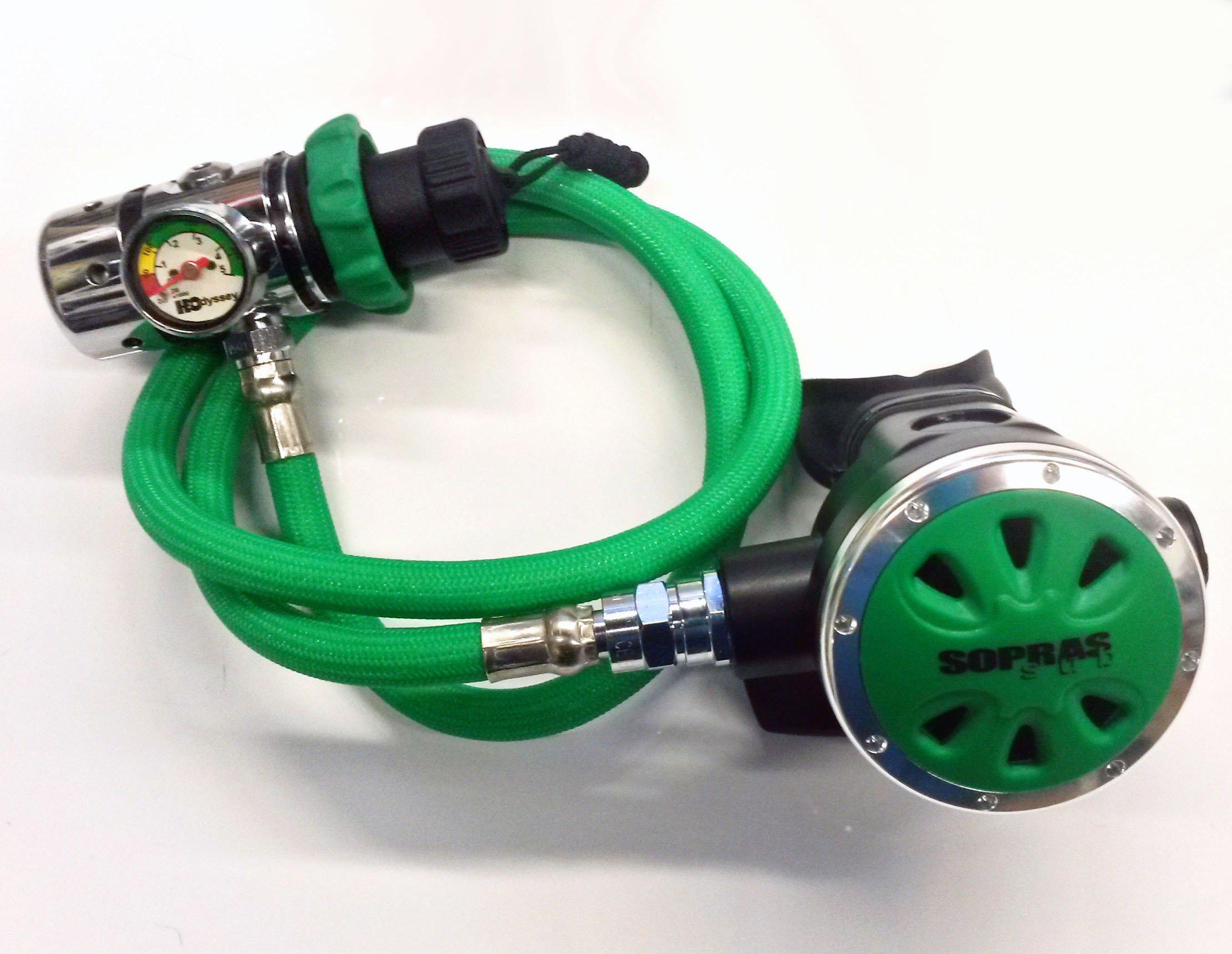 SOPRAS SUB Oxygen Regulator with Flex Hose and Button Gauge O2 Clean Scuba Dive and Technical Diving Reg - Green FREE REGULATOR BAG