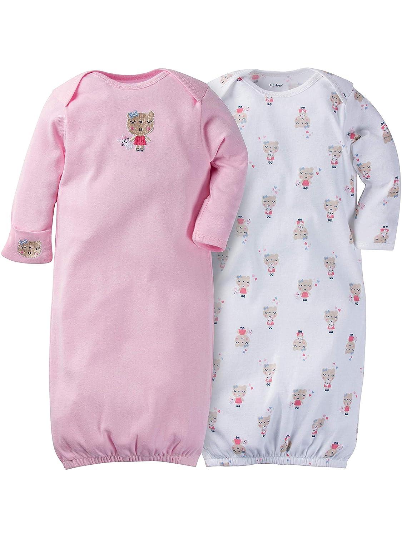 Gerber Baby Girls' 2-Pack Gown Bear Hugs)