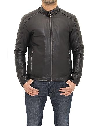 A to Z Leather Chaqueta de Moto Negra de Cuero Perforado ...