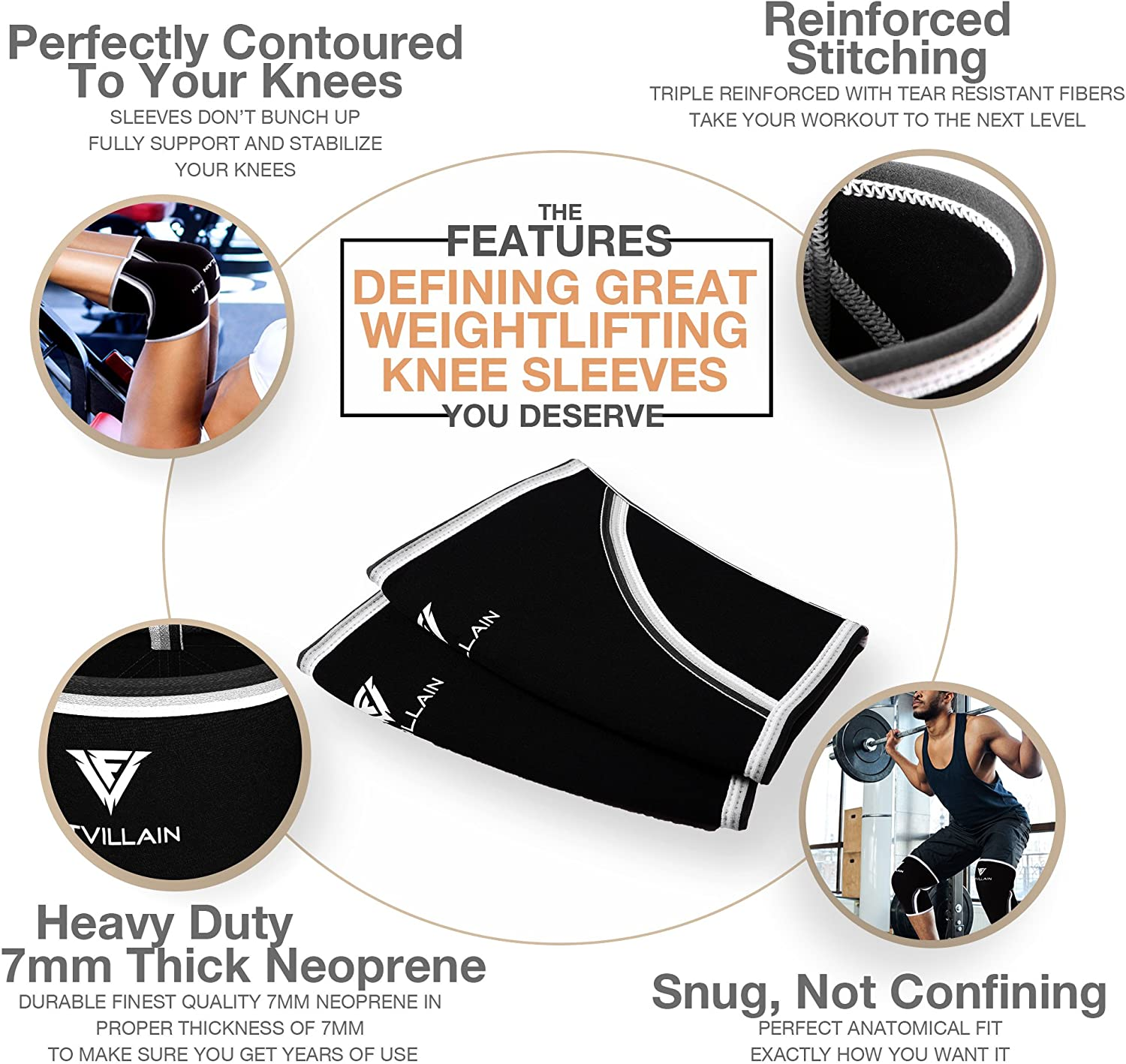 Heavy Squatting 1 Pair Crossfit Men /& Women Deadlift Workout Training 7mm Neoprene Ligament Injury Recovery Guard Gym Knee Compression Support Sleeves for Weight Lifting Powerlifting