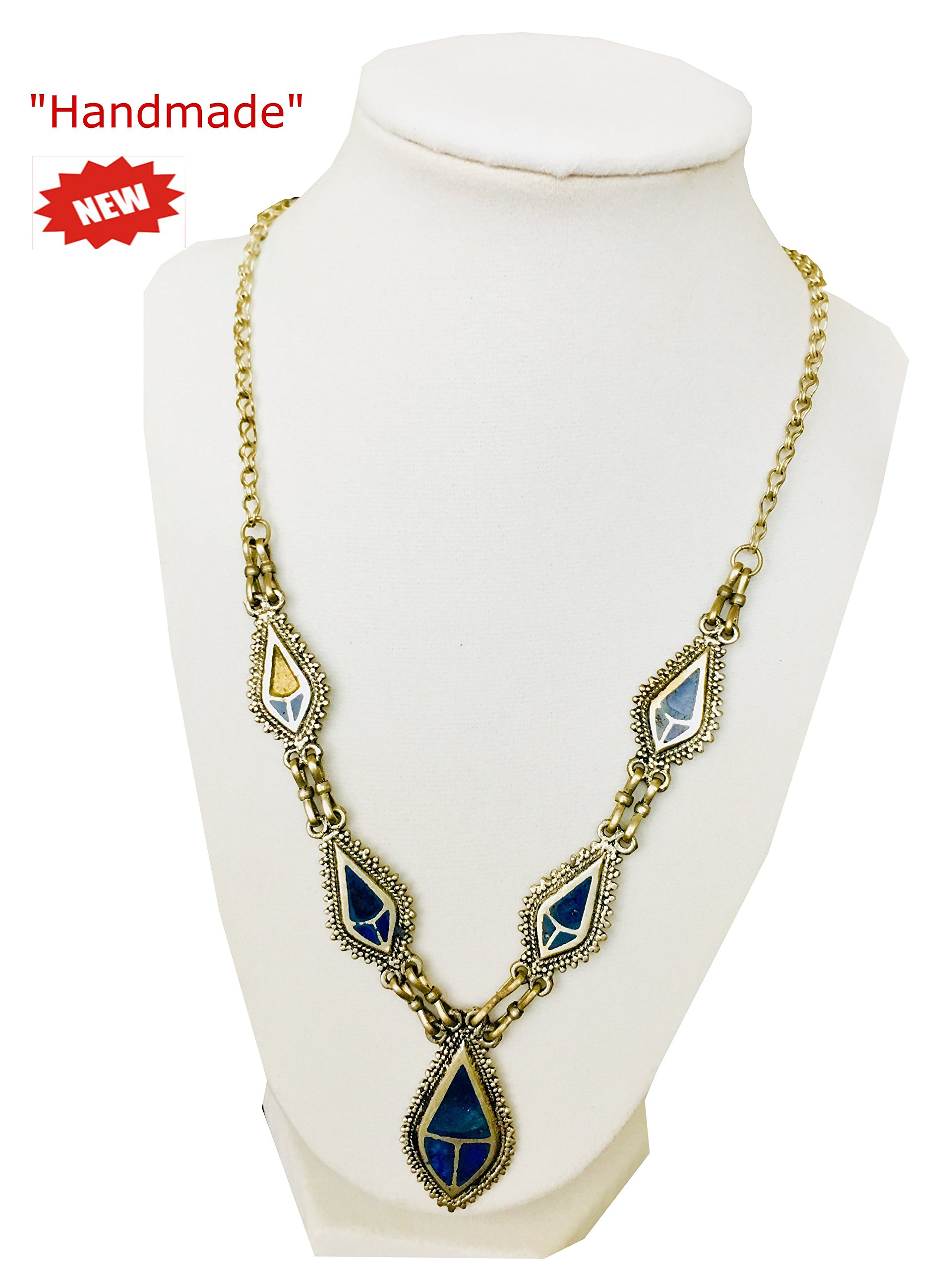 Himalayan Handmade Fine Art Elegant Blue Stone Necklace Multi Size Metal Art Comes With Gift Box