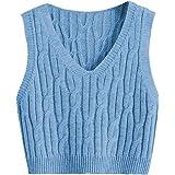 Romwe Women's Cable Knit Crop Sweater Vest Preppy Style Sleeveless V Neck Knitwear Tank Tops