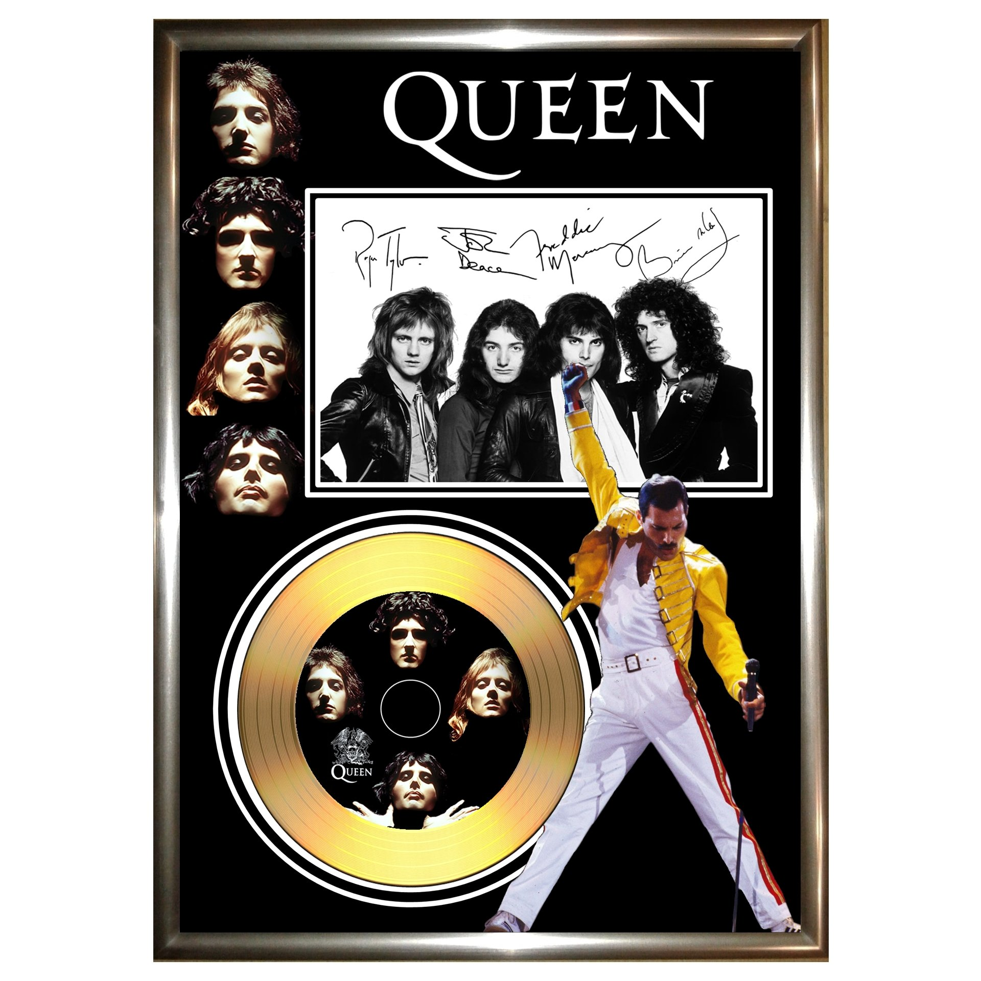 HWC Trading Queen Gift Signed FRAMED A4 Printed Autograph The Band Gifts Photo Display
