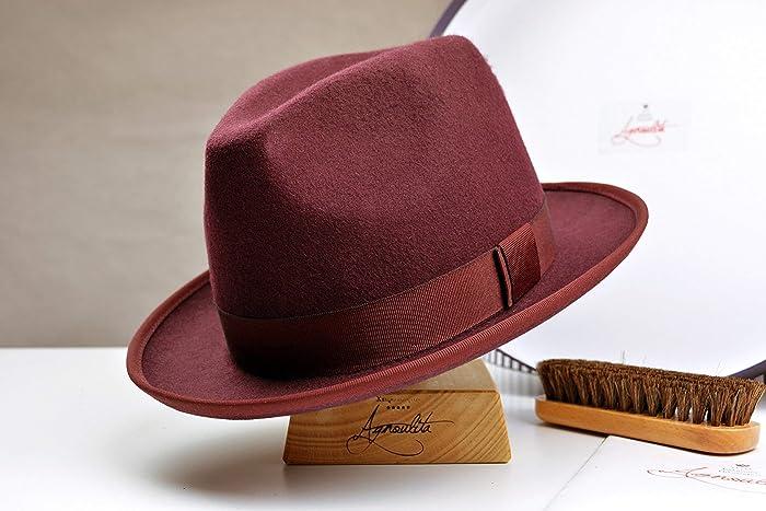 cfd83ee40f511 Amazon.com  The Auxerre - Wool Felt Center Dent Fedora Hat - Medium Brim - Men  Women  Handmade