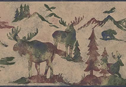 Wildlife Outdoors Moose Deer Elk Silhouettes Beige Wallpaper Border Retro Design Roll 15 X