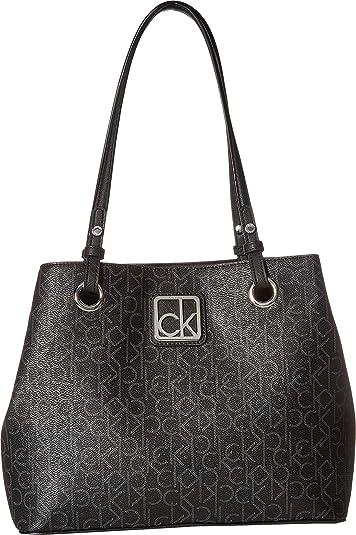 18c324cac8 Amazon.com: Calvin Klein Women's Monogram East/West Tote Black/Asphalt One  Size: Shoes