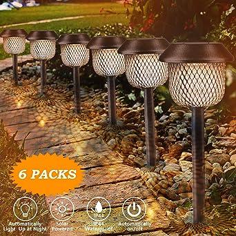 Lámpara solar para jardín, Tencoz LED Luz de la antorcha solar IP44 Luz de Llama Jardin Solares Exterior Luces de decoración con energía solar Luces para caminos de jardín: Amazon.es: Iluminación
