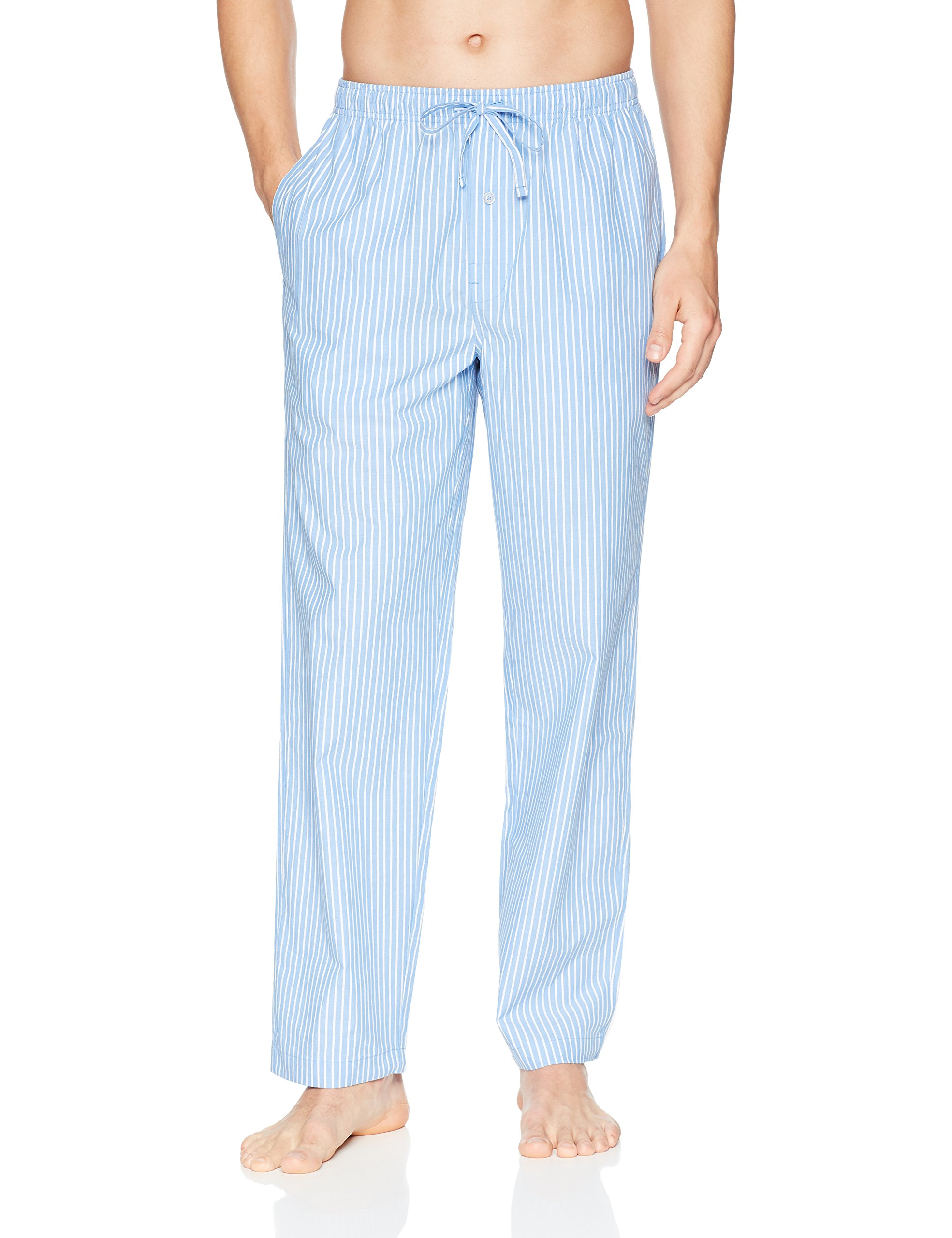Amazon Essentials Men's Woven Pajama Pant, Light Blue Stripe, Medium