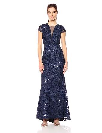 a682182e372649 Carmen Marc Valvo Infusion Women's Illusion V Front Soutache and Sequin Gown,  Navy 2