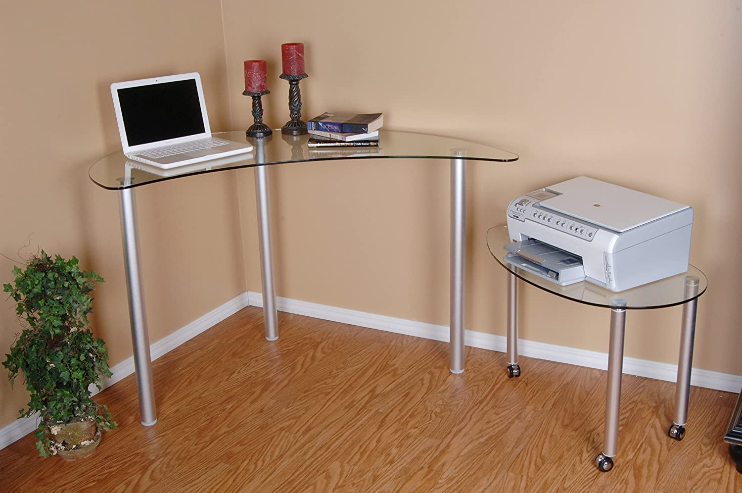 Bon Amazon.com: Tier One Designs Clear Glass Corner Computer Desk: Kitchen U0026  Dining