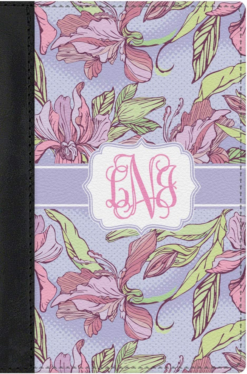 Orchids Genuine Leather Passport Cover Personalized
