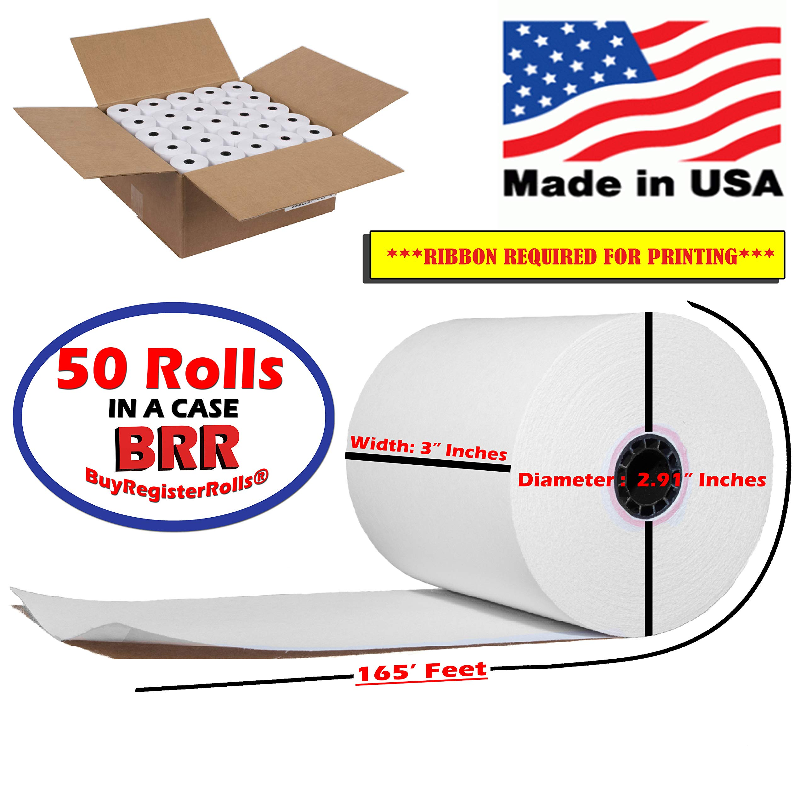 50 Rolls 3'' x 165' 1-Ply Bond Premium Quality Blended Bond Receipt Paper POS Cash Register Made in USA from BuyRegisterRolls by BuyRegisterRolls
