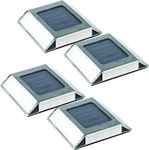 Nature Power 21072 Powered LED, Stainless Steel, 4-Pack Solar Pathway Lights