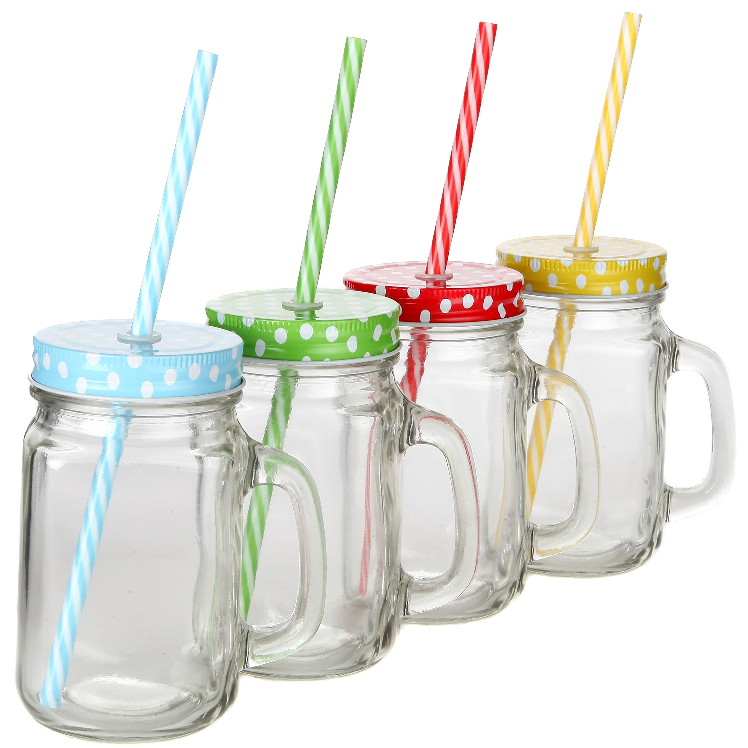 Lily's Home Old Fashioned Mason Jar Mugs with Handles, Polka Dot Lids and Matching Reusable Plastic Straws, Great as Old Fashion Drinking Glasses at BBQs and Parties, Clear (16 oz. Each, Set of 4) by Lilyshome (Image #4)
