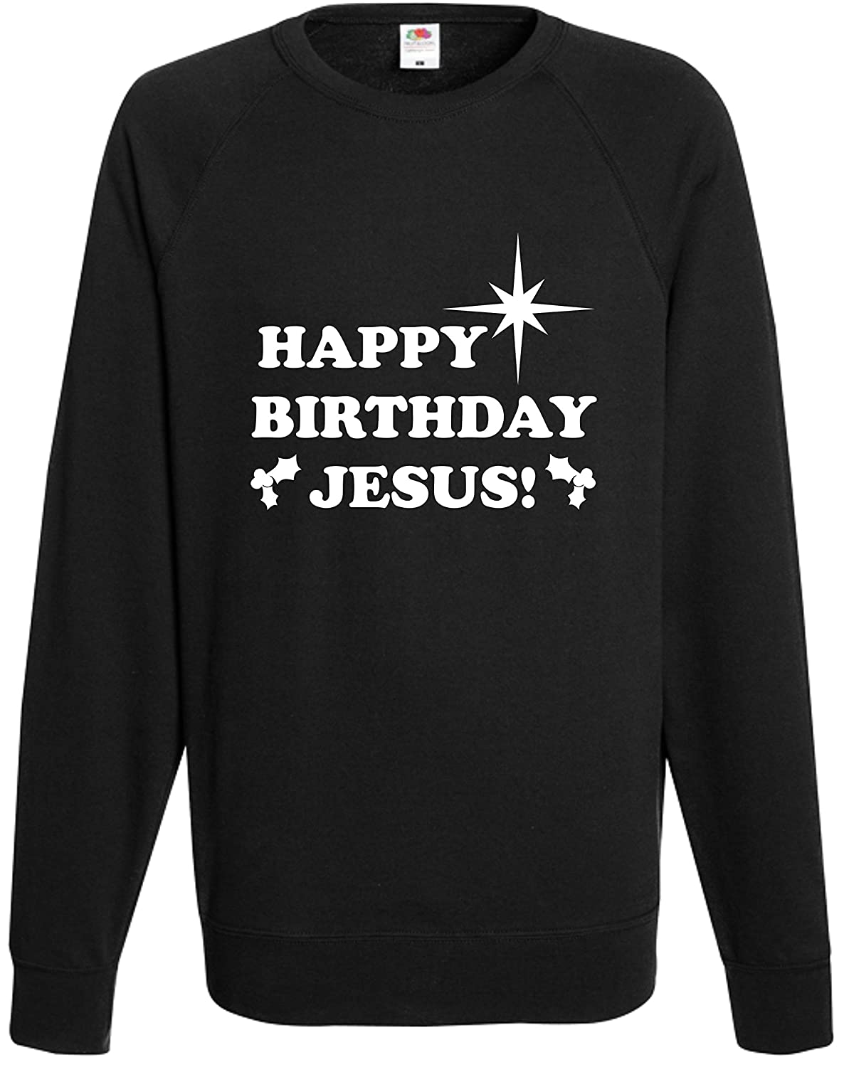 76567e3a6 Happy Birthday Jesus Sweatshirt Funny Christmas Jumper Comedy Gift Top  Present: Amazon.co.uk: Clothing