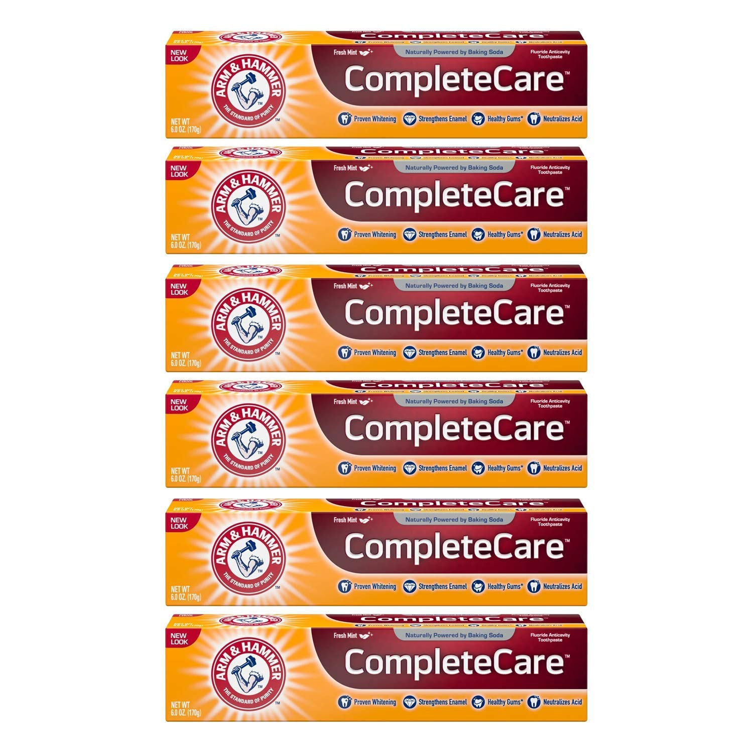 ARM & HAMMER Complete Care Fluoride Anticavity Toothpaste, Fresh Mint 6 oz (Pack of 6)