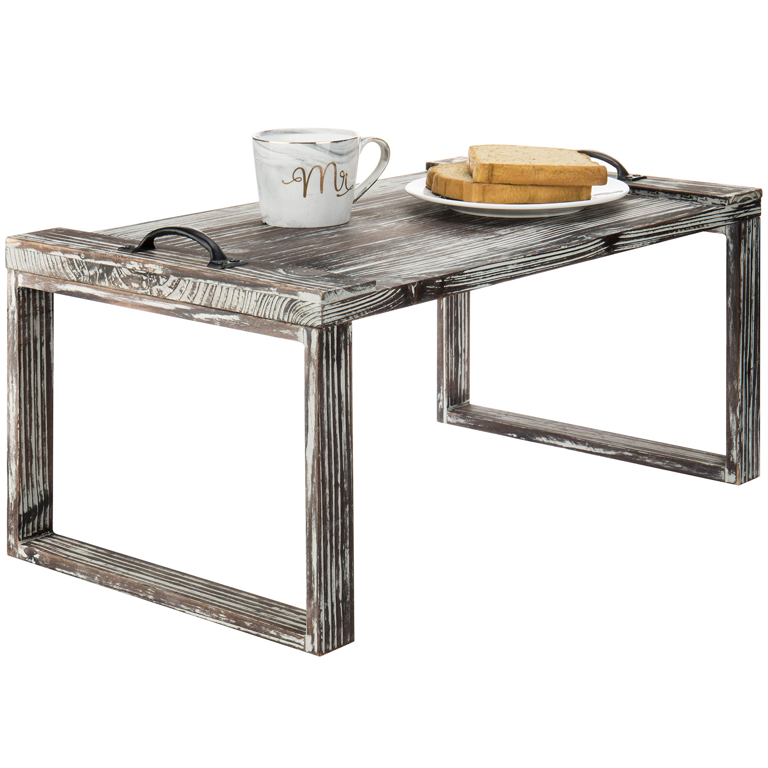 MyGift Rustic Torched Wood 24-inch Breakfast Tray with Legs/Lap Desk