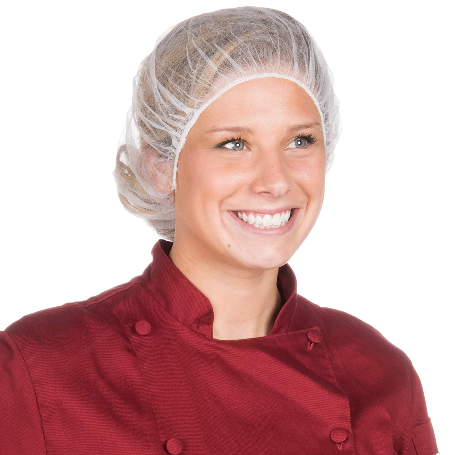 Hair Net Bouffant - White Disposable Hair Nets, Light Disposable Bouffant Cap For Food Service, Surgical Caps, Healthcare facility, Laboratories & Restaurants, Regular/Large, White (24 In)
