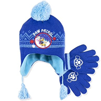 7ac10bf813df5 Paw Patrol Official Boys Winter Set Trapper Peruvian Style Hat and Gloves  Marshall and Chase Character - Blue 54  Amazon.co.uk  Clothing
