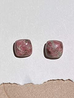 product image for 8mm Square Cushion Pink Thulite and Sterling Silver Post Earrings