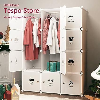 Tespo portable closet clothes wardrobe organizer plastic organizer diy cube bedroom cabinet,white6
