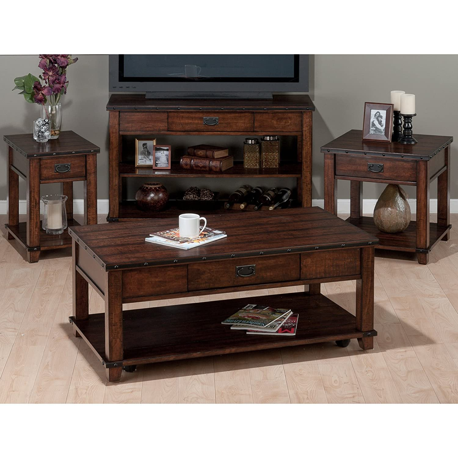 Amazon Chairside Table in Cassidy Brown Finish Kitchen & Dining