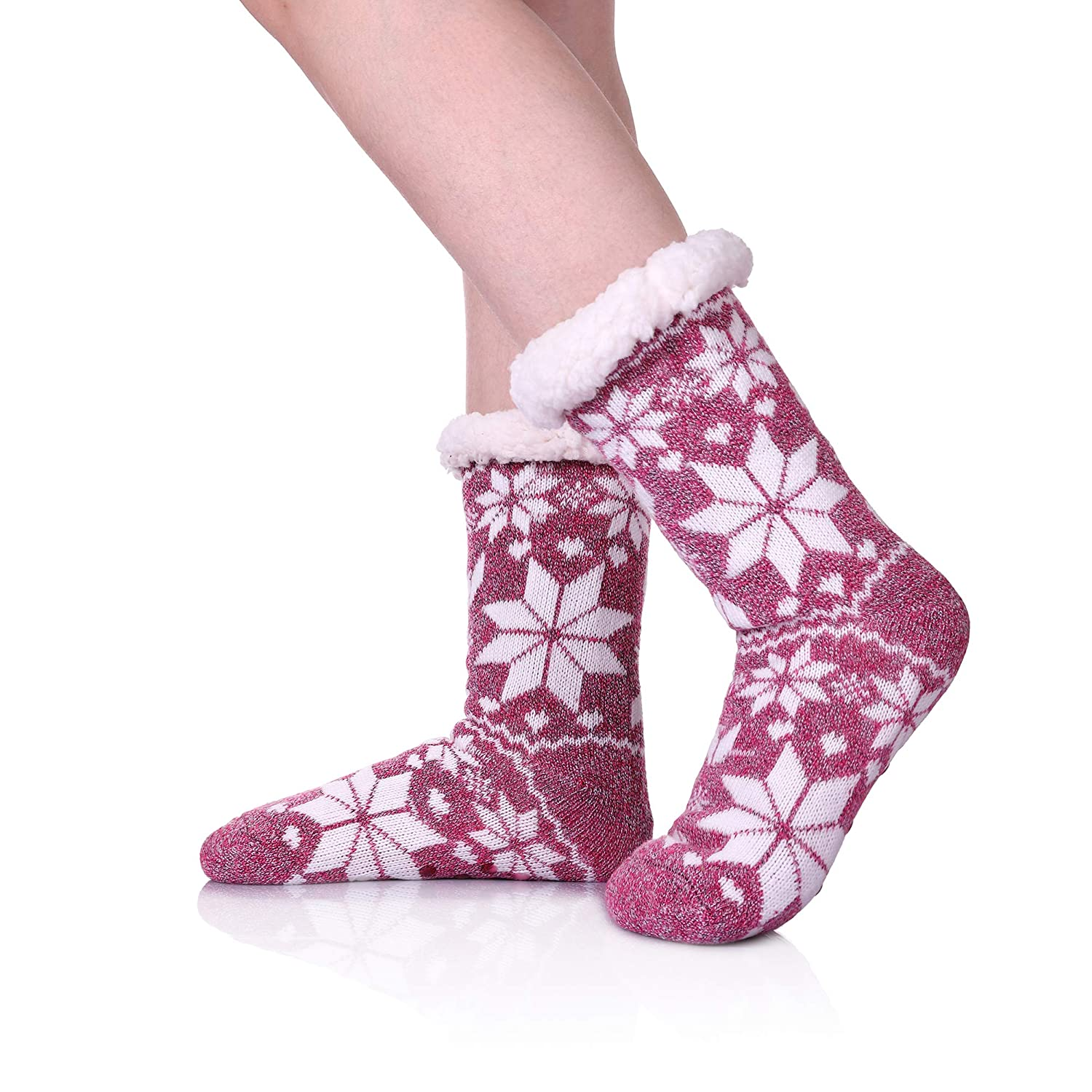 edbff2391ada9 Womens Winter Fleece Lining Knit Christmas Non Slip Knee Highs Stockings  Warm Fuzzy Cozy Slipper Socks
