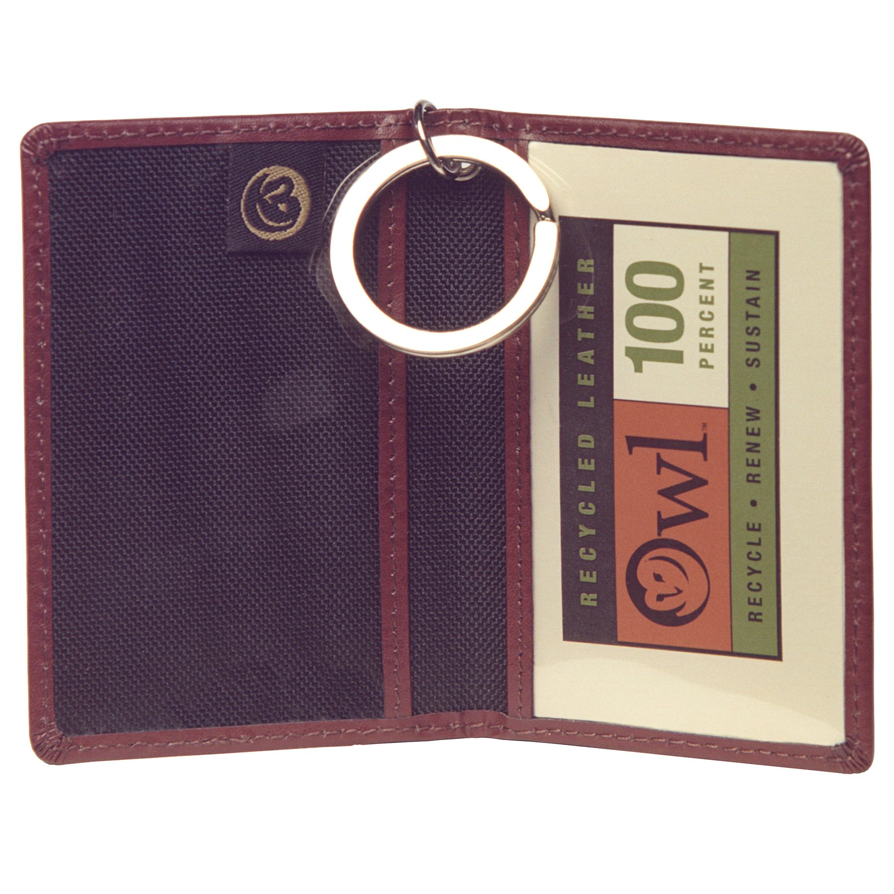 OWL Simple BROWN Thin Slim Keychain Leather Credit Card ID Holder Small Wallet for Men + Women