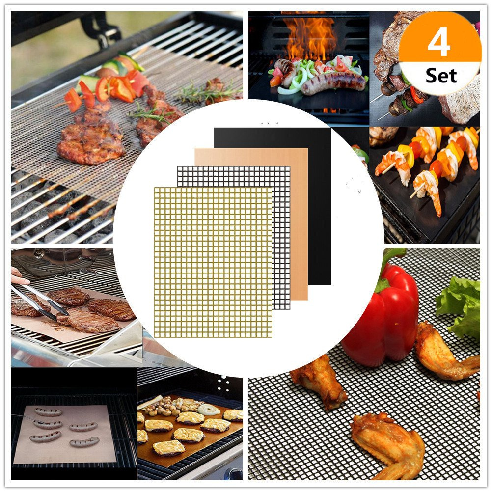 (Set of 4) 4 Style Non-Stick BBQ Grill Mats Barbecue Grill Pads BBQ Grill Mesh Mat Cooking Mats for Grilled Reusable and Easy to Clean Works on Gas Charcoal Electric Grill and More – 2 Colors PalkSky