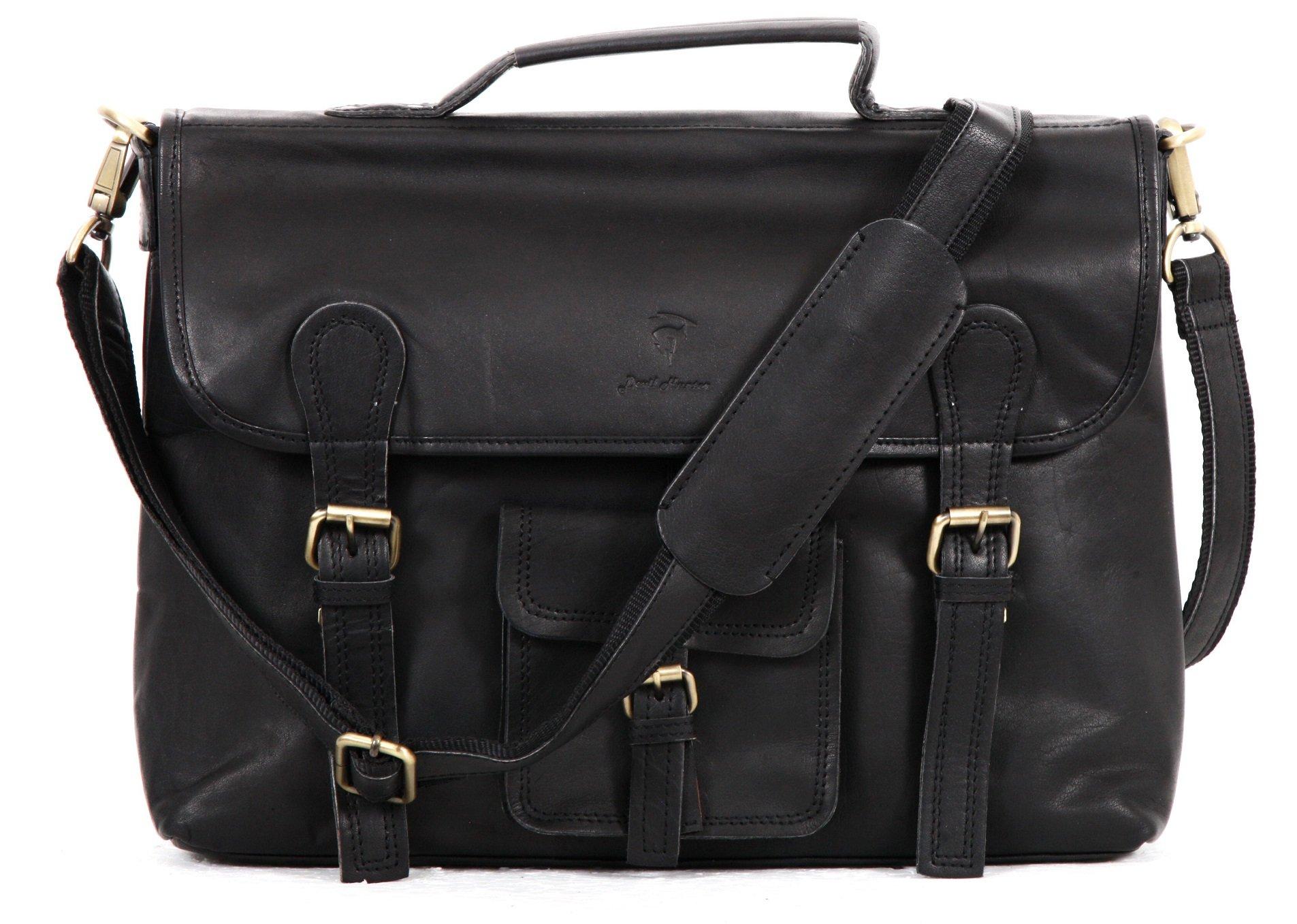 Devil Hunter DH Leather Unisex Real Leather Messenger Bag for Laptop Briefcase Satchel