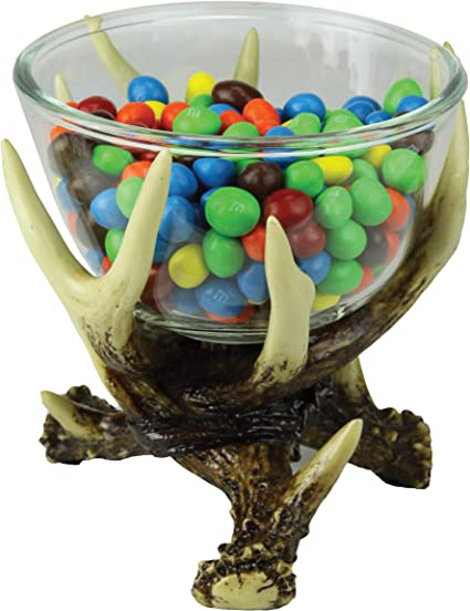 River/'s Edge Products Deer Antler Glass Candy Dish Decorative Bowl