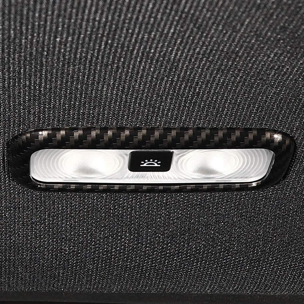 Voodonala Carbon Fiber Grain Rear Reading Light Read Lamp Trim for Ford F150 2016 2017