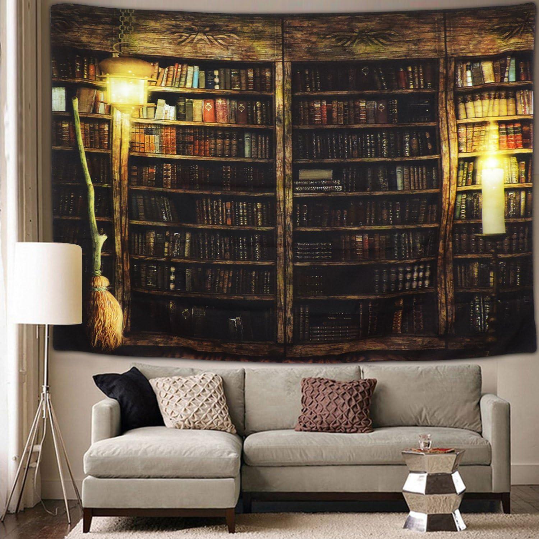 Vintage Library Bookshelf Tapestry Wall Hanging Study Room Picture Art Print Tapestry Retro Bookshelf Wall Art Bohemian Hippie Wall Tapestries for Bedroom College Dorm Decor (Bookshelf, M51.2