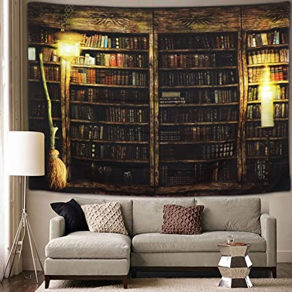 Vintage Library Bookshelf Tapestry Wall Hanging Study Room Picture Art Print Retro