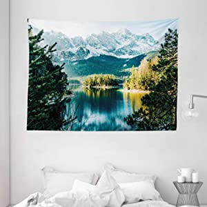 """Ambesonne Landscape Tapestry, Mountain Lake in Northern Germany with Frozen Peaks Water in Winter Season Life, Wide Wall Hanging for Bedroom Living Room Dorm, 80"""" X 60"""", Green White"""