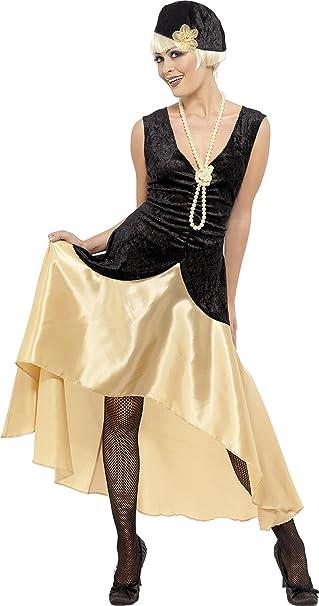 20er Gatsby Girl Kostüm Schwarz und Gold Kleid Kopfbedeckung und ...
