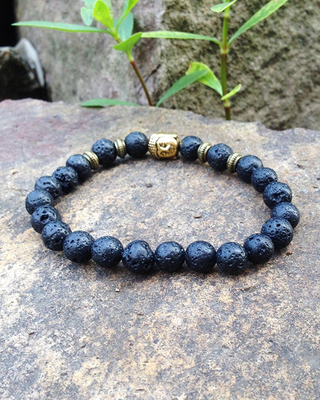 Young /& Forever Mens DVine Black Lava Stone Hematite Jasper Beads Diffuser Bracelet