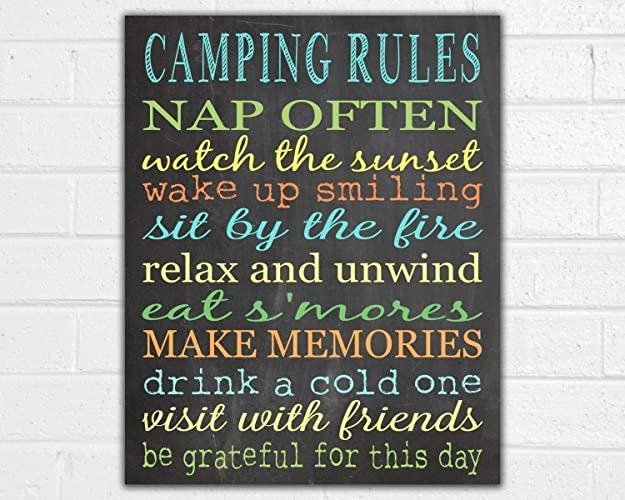 Camping Rules Unframed Print - Camping Sign - Vintage Camper Decor - Camper  Art - RV Sign - Outdoor Decor - Camping Party - Camping Gifts