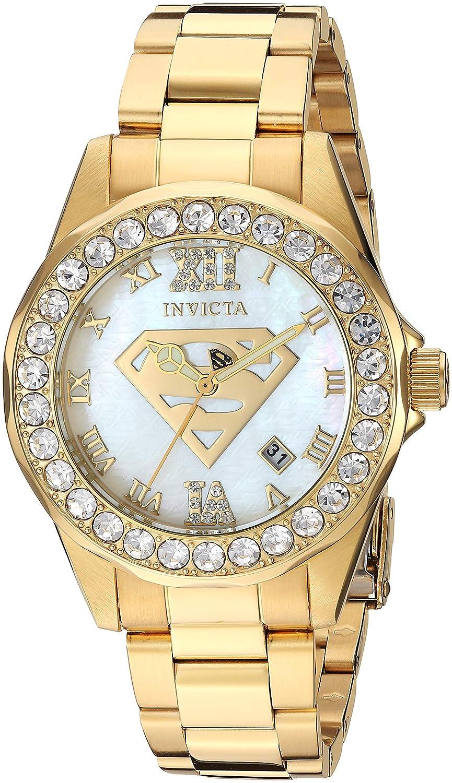 Invicta Women s DC Comics Quartz Stainless-Steel Strap, Gold, 17.8 Casual Watch Model 29307