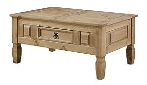 Corona – Tavolino da caffè in pino messicano, design rustico, con cassetto