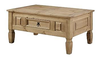 Table Basse De Salon Bois En Pin Massif Avec Tiroir Corona Range